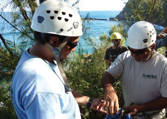 Conservation means jobs and those jobs mean new skills. Kona Ball and Darrell Aquino of MISC prepare to rappell down a cliff while Robert Vincent of East Maui Watershed Partnership looks on.